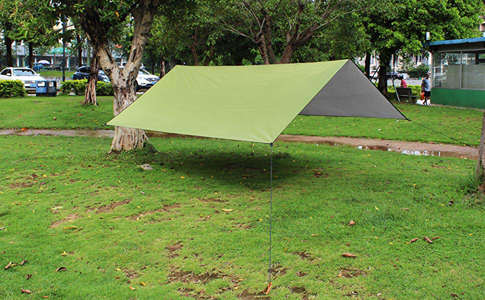 A collapsible tarp